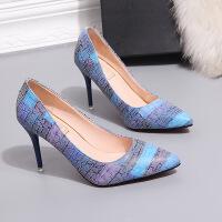 高跟鞋新款拼色单鞋尖头浅口细跟性感女单鞋高跟鞋女鞋