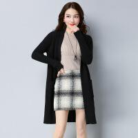 秋季新品女士针织衫开衫外套 长款纯色休闲女式针织衫外套