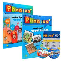 英文原版 小学英语启蒙自然拼读教材Super phonics 2 课本+练习册+大版挂图+CD+资源包 初级入门英语字母