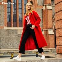 Five Plus女装毛呢外套女中长款过膝单排扣羊毛大衣宽松翻领