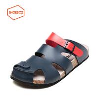 达芙妮旗下SHOEBOX/鞋柜男鞋夏季新款防滑软木底凉拖鞋包头沙滩男鞋
