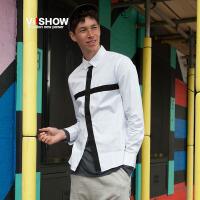 VIISHOW秋装新款衬衫男 方领拼色纯棉衬衣 男士长袖青年上衣