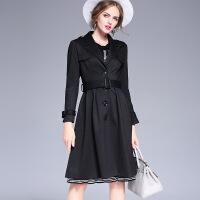 秋冬新款女装风衣欧美单排扣修身外套长款百搭大衣C231