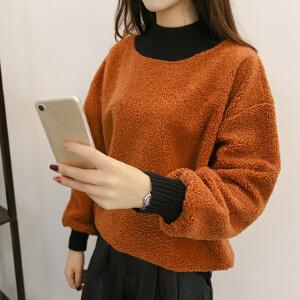 2018新款韩版半高领雪尼针织衫灯笼袖宽松字母显瘦打底衫毛衣潮女