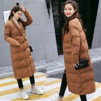 冬装新款女装韩版棉衣女士长款过膝冬季纯色加厚棉袄外套