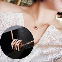 日韩满钻戒指圈吊坠短款钛钢项链网红配饰锁骨链情侣款女士