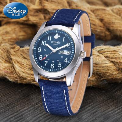 迪士尼儿童手表男孩夜光防水电子石英表双日历男童初中小学生手表男表