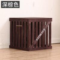 实木箱子复古收纳箱杂物整理箱组合带盖收纳盒大号储物箱 ++