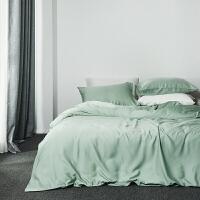 纯色简约60支双面天丝四件套素色被套床笠冰丝滑夏季裸睡床上用品
