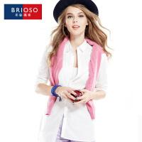 BRIOSO 女士白衬衫 秋装新款条纹款男朋友衬衫 欧美风性感百搭女衬衣 WE19095-6