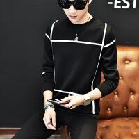 冬季时尚百搭长袖T恤男士加肥加大码太空棉打底衫青年韩版潮男装