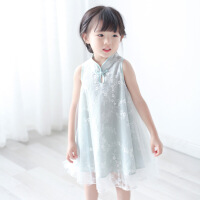 女童旗袍连衣裙夏18新款中国风盘扣花朵蕾丝改良唐装女宝宝公主裙
