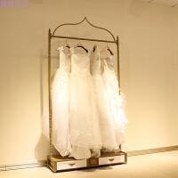 服装店衣架展示架 婚纱侧架铁艺服装架礼服货架陈列架落地式