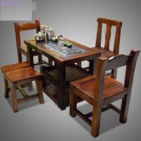 茶桌实木 老船木茶桌椅组合家具中式功夫茶几茶台户外阳台茶艺桌 套装:140厘米 1靠背椅 2口字靠 整装