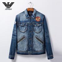 正品Armani阿玛尼 男士牛仔夹克 春季新款多口袋设计徽章装饰 VMB17 8G