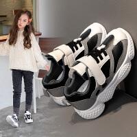 童鞋女童黑色运动鞋2020春季新款女孩鞋子