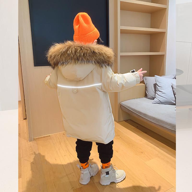 【2件5折到手价:298元】左西男童羽绒服冬装2020新款儿童中大童白鸭绒加厚保暖中长款