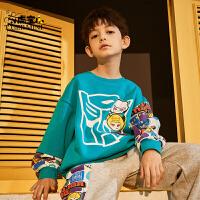 【2件3折:89.7元】加绒男童卫衣儿童新款2021秋季小虎宝儿运动潮