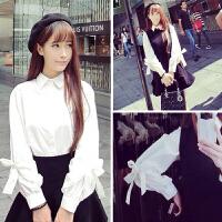 韩观学院风泡泡长袖女学生雪纺棉衬衫带领打底上衣娃娃翻领白色寸衫秋 白色 均码