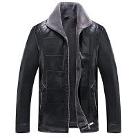 男士皮夹克翻领休闲男皮衣加绒加厚外套时尚秋冬中年男爸爸装 黑色 18602