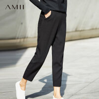 Amii[极简主义]微吊裆休闲裤女2017冬装新款简洁帅气宽松裤子
