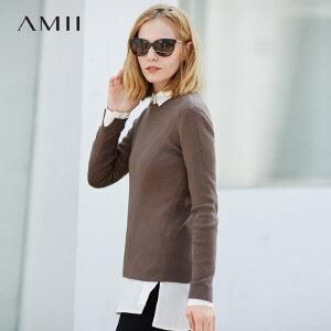 Amii[极简主义]简洁有型 卷边圆领小开叉毛衣女 冬季休闲百搭上衣