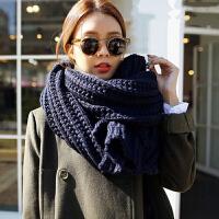围巾女冬季韩版纯色百搭粗毛线长款女士春秋双面针织围脖加厚保暖
