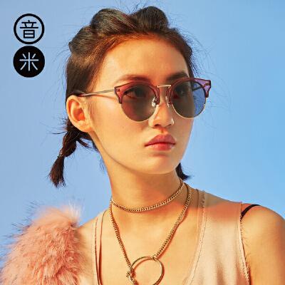音米时尚复古半框太阳镜女潮偏光镜男驾驶镜防紫外线太阳眼镜 AASBPB230