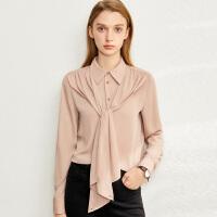【到手价:154元】Amii极简法式小众气质衬衫女2020春季新款直筒翻领垂感雪纺衫上衣