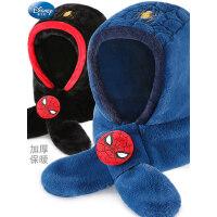 迪士尼�和���巾帽子一�w冬毛�q保暖男童小孩幼�����蜘蛛�b��脖套