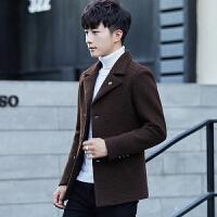 毛呢大衣男中长款羊毛呢风衣修身呢子翻领呢外套男韩版呢子风衣潮