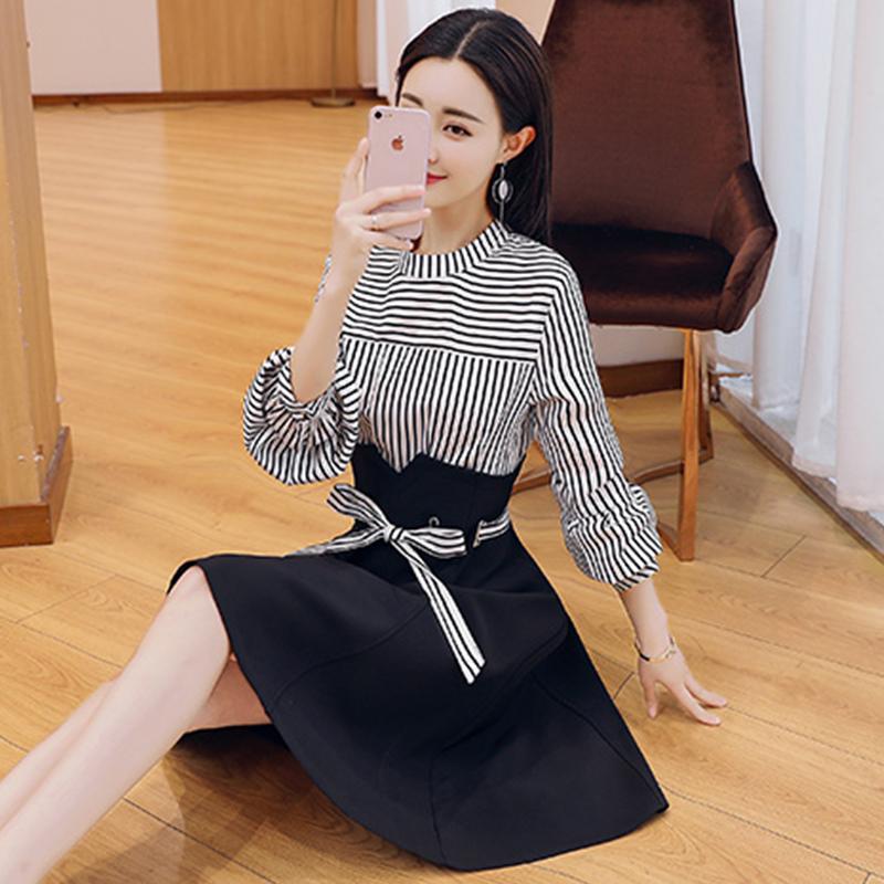 2018新款女装春装条纹假两件连衣裙高腰修身显瘦雪纺小黑A字裙子