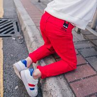 春季童装儿童休闲裤2018新款男童铅笔裤中小童韩版时尚破洞长裤潮