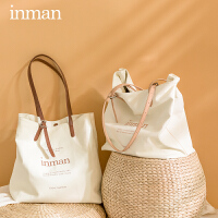 茵曼帆布手提袋新款托特包包女大容量通勤包女包单肩手提包