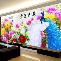 印花十字绣线客厅牡丹孔雀十字绣简约现代花开富贵