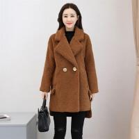 毛呢外套女中长款韩版冬装女装韩版加厚仿羊羔毛呢子大衣潮
