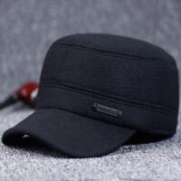 老年人男士平顶帽冬天加厚护耳保暖帽中老年鸭舌帽冬季老头帽加绒
