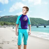 游泳衣女童泳衣中大童女孩保守长裤平角学生儿童分体长袖防晒泳衣 浅蓝色 深蓝男款不带胸垫