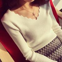 韩观秋冬新款韩版波浪V领套头毛衣女修身弹力针织衫短款长袖打底上衣