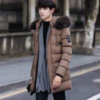 冬季中长款棉衣男韩版街头青少年帅气毛领外套高中学生羽绒棉衣服