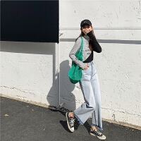 七格格直筒浅色牛仔裤女高腰小个子2020春季新款韩版宽松阔腿裤子