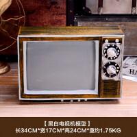 复古怀旧老式铁皮录音机收音机电视机模型摆件拍摄影视道具装饰 2089老式黑白电视机模型
