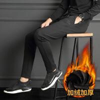 男士冬装棉裤加绒加厚运动裤男韩版修身潮流小脚裤子男休闲裤外穿 黑色