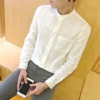 春季男士休闲亚麻衬衫男修身立领男装长袖棉麻打底白衬衣潮大码 白色