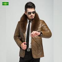 逸纯印品(EASZin)男士皮衣羽绒服 仿真水洗皮 中年 短款 西装领 商务休闲 男装外套