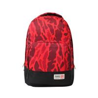 迷彩双肩包尼龙布潮男旅行包旅游背包女高中学生书包休闲小包 红色