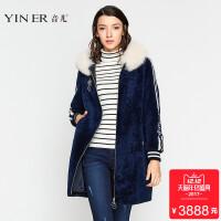 YINER音儿 2017冬季新款毛领中长款羊皮毛一体皮草大衣8C57509640