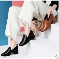 古奇天伦春季新款韩版百搭小皮鞋英伦风女鞋粗跟高跟鞋方头黑色工作鞋ER03355