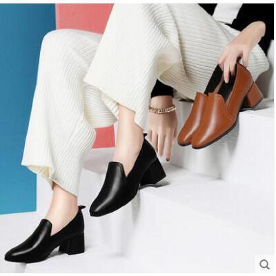 古奇天伦春季新款韩版百搭小皮鞋英伦风女鞋粗跟高跟鞋方头黑色工作鞋ER03355 品质保证  售后无忧