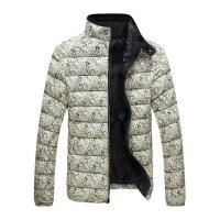秋冬季男装男士韩版修身加厚立领休闲外套青年枣红色时尚棉衣棉服